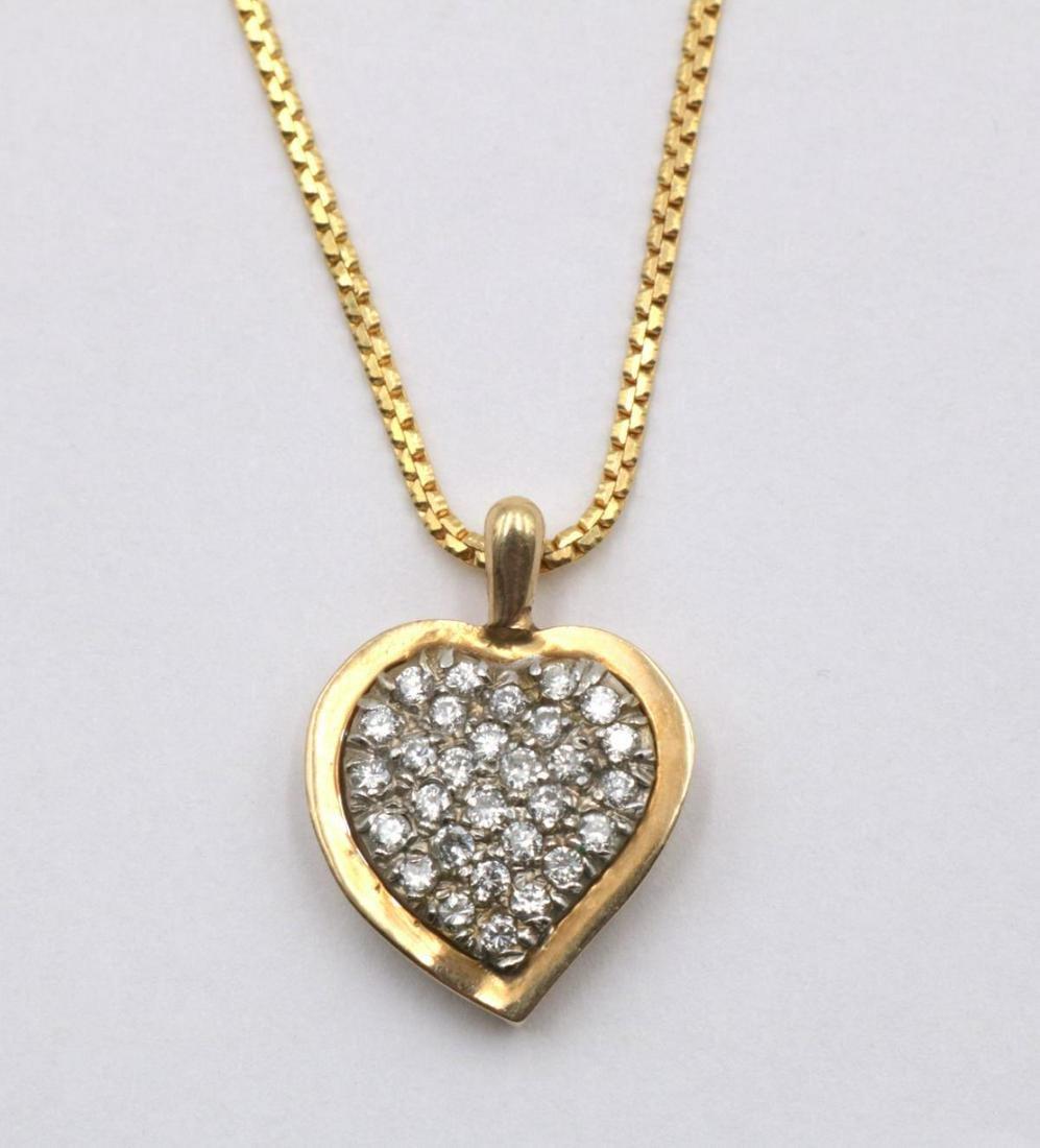 14Kt Yellow Gold & Diamond Heart Pendant w/ Necklace