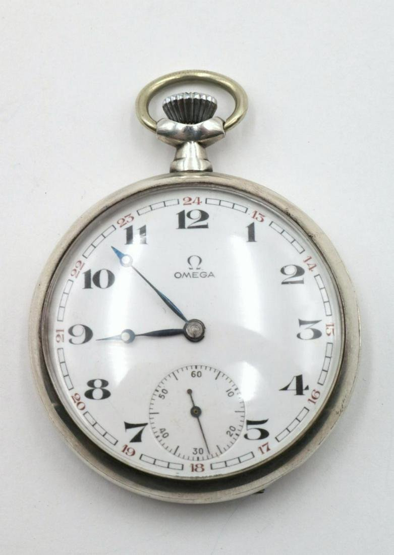 Antique Omega Sterling Silver Pocket Watch