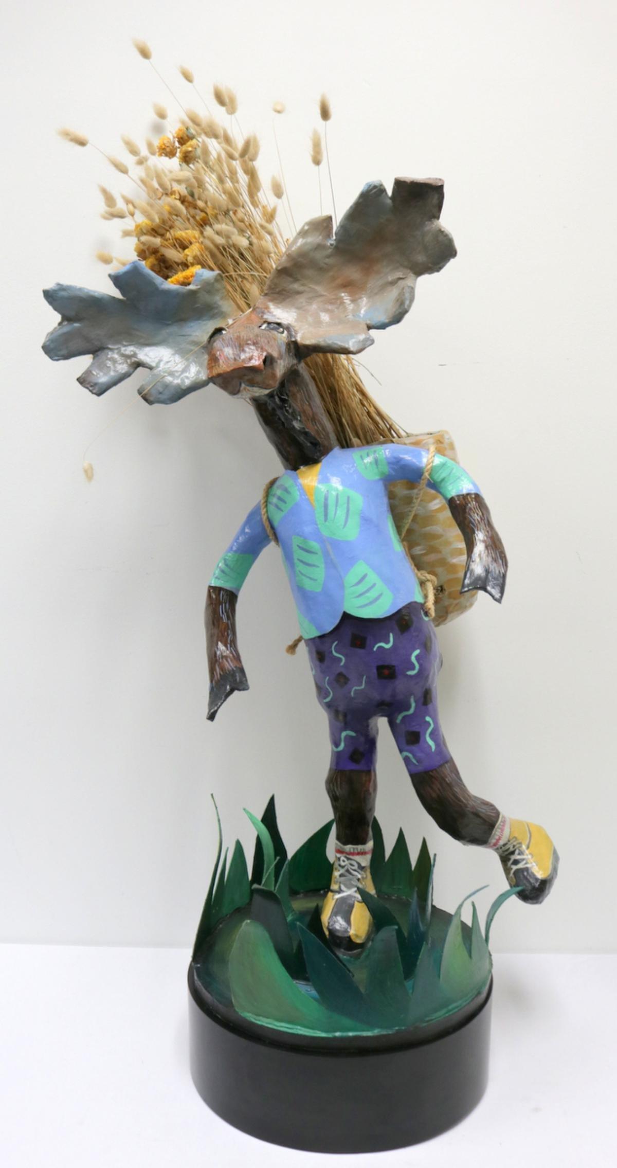 Whimsical Paper Mache Moose Sculpture