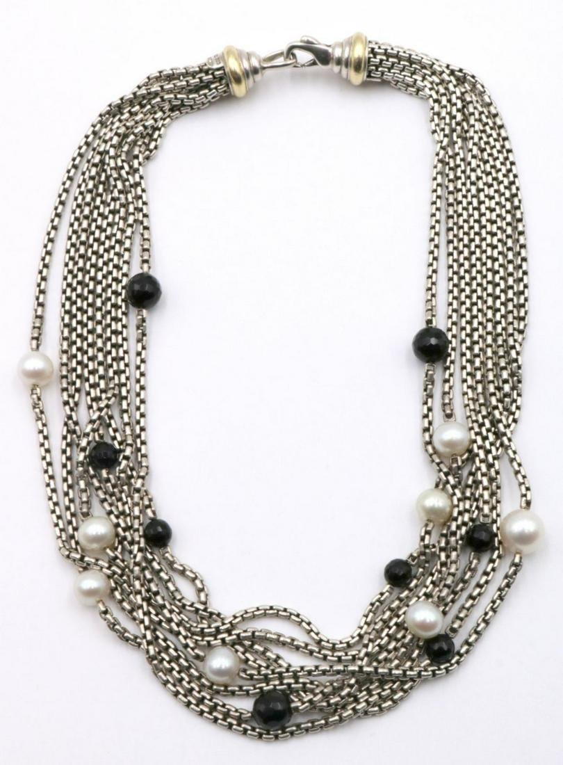 David Yurman 18Kt & Sterling Onyx, Pearl Necklace