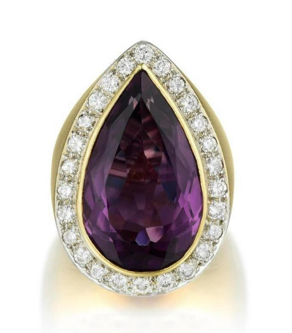 David Webb Amethyst & Diamond Ring