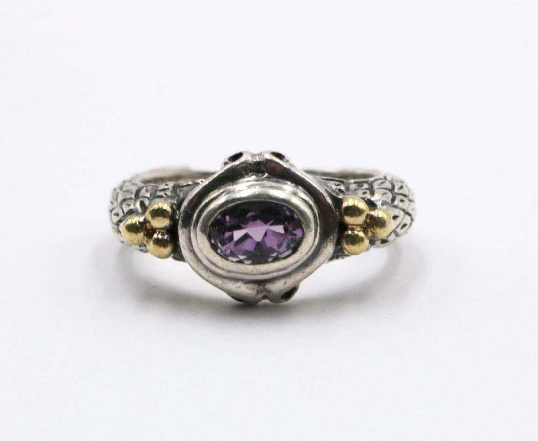 Fred Paris 18Kt & Sterling Amethyst Ring