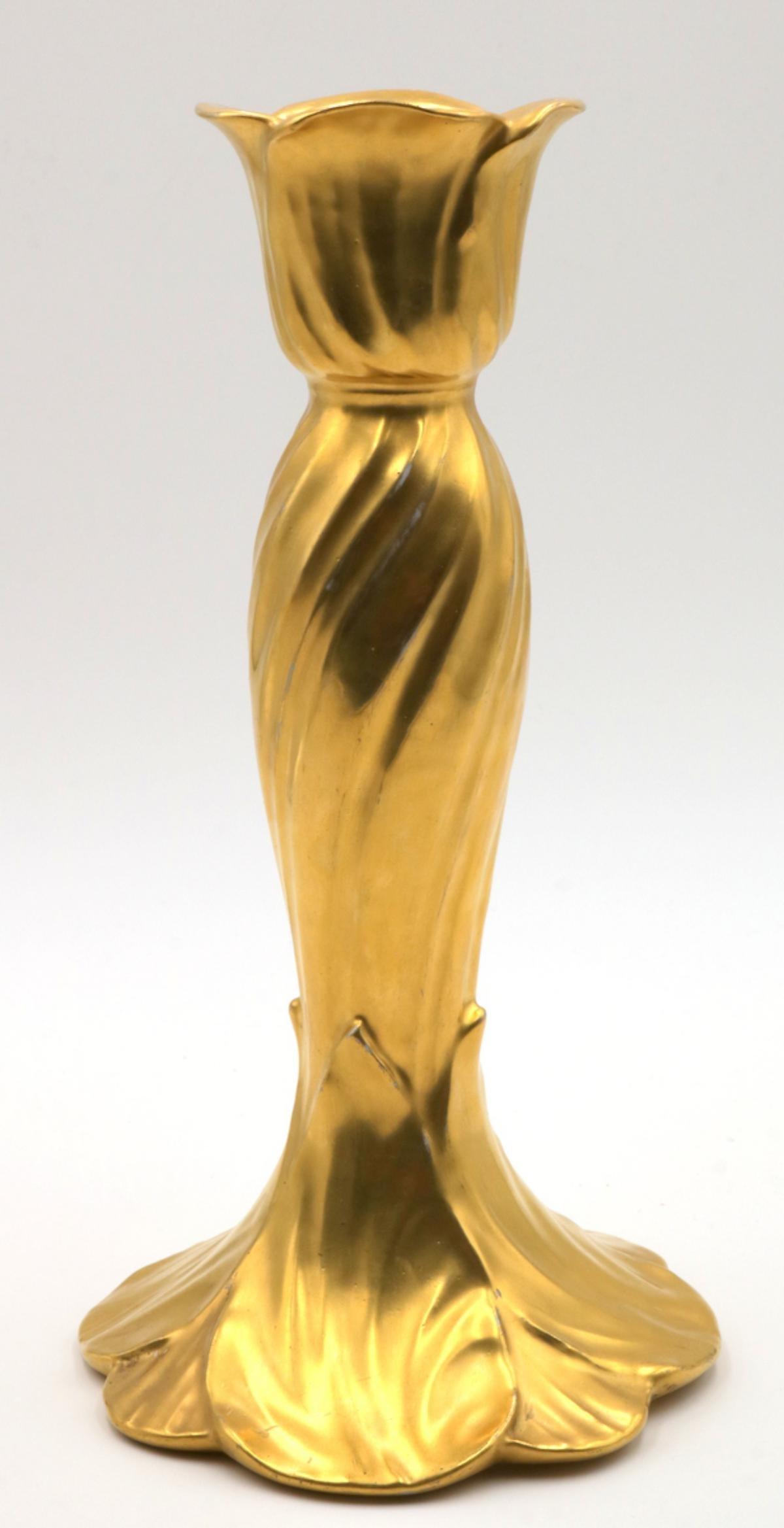 Antique Limoges France Gilded Candle Stick