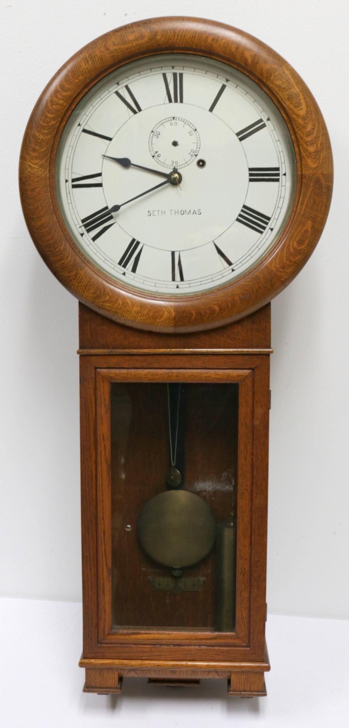 Antique Seth Thomas Wooden Wall Clock