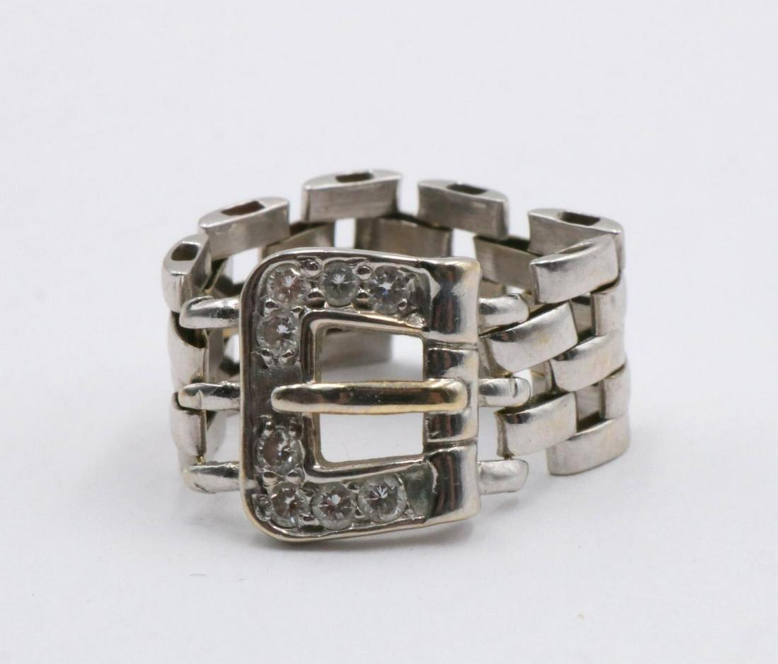 14Kt Belt Buckle Diamond Ring