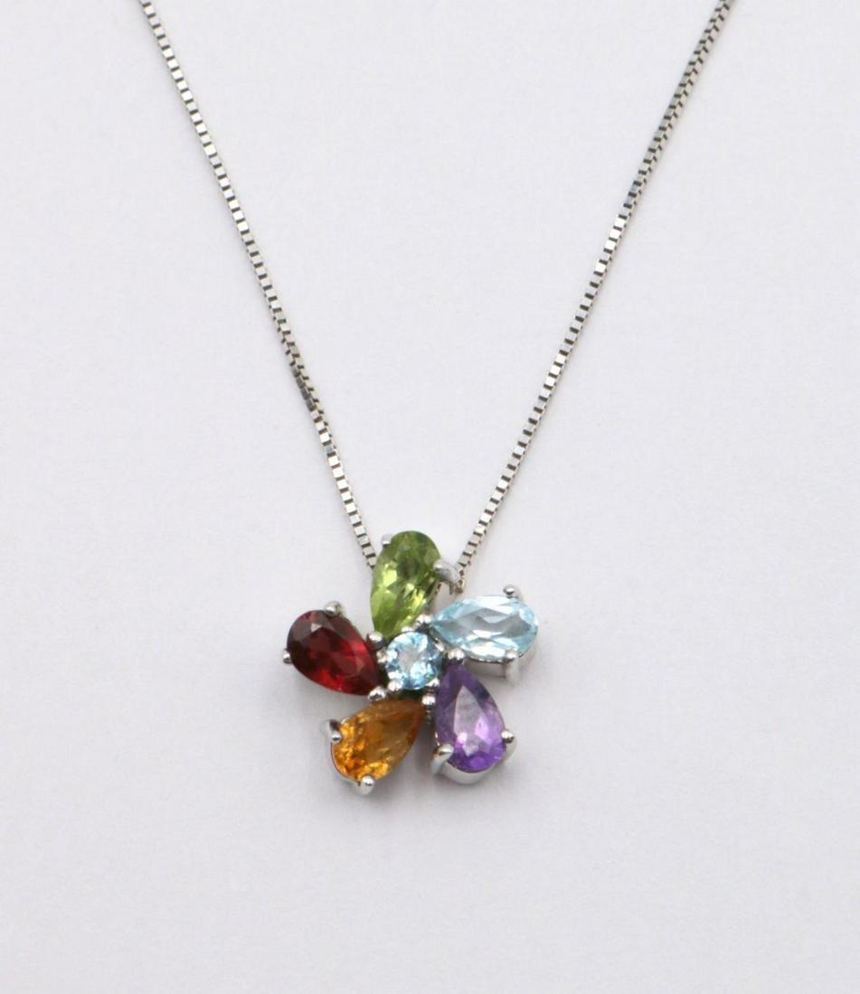 Italian 18Kt & Semi-Precious Stone Pendant w/ Necklace