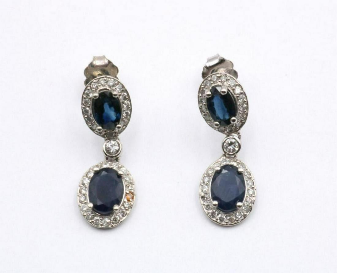 14Kt 4.12ct. Sapphire & Diamond Earrings