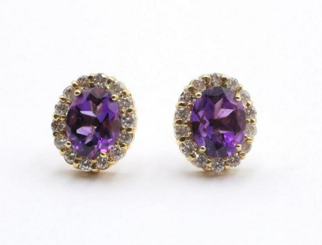 14Kt 3.04ct. Amethyst & Diamond Earrings