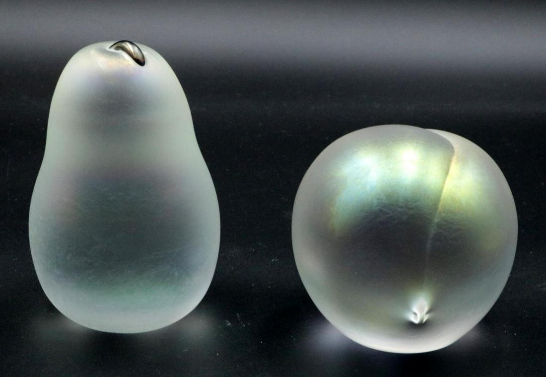 Two Zellique Art Glass Fruit Paperweights