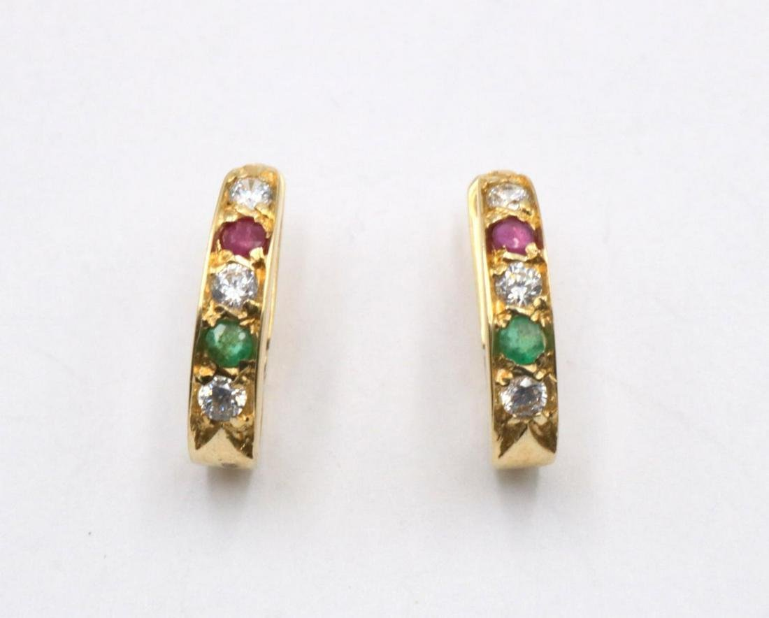 14Kt Emerald, Ruby & Diamond Earrings