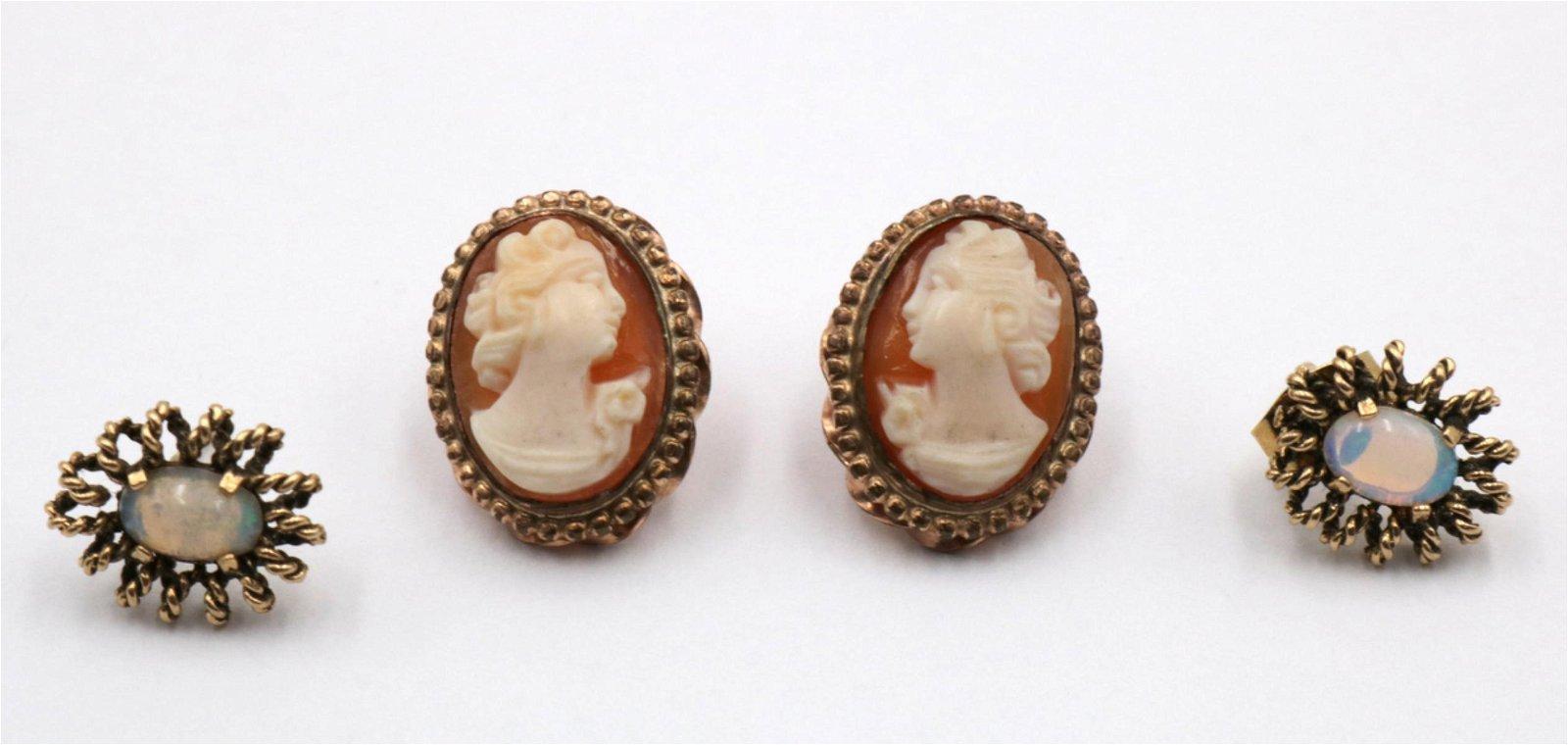 14Kt Cameo & Opal Earrings
