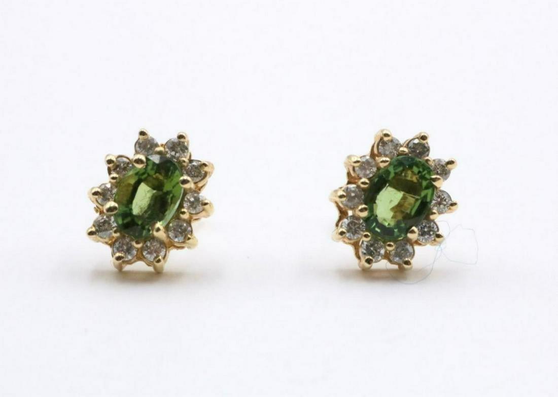 14Kt 3.24ct. Green Tourmaline & Diamond Earrings