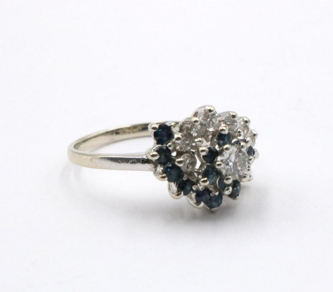 14Kt Sapphire & Diamond Cluster Ring