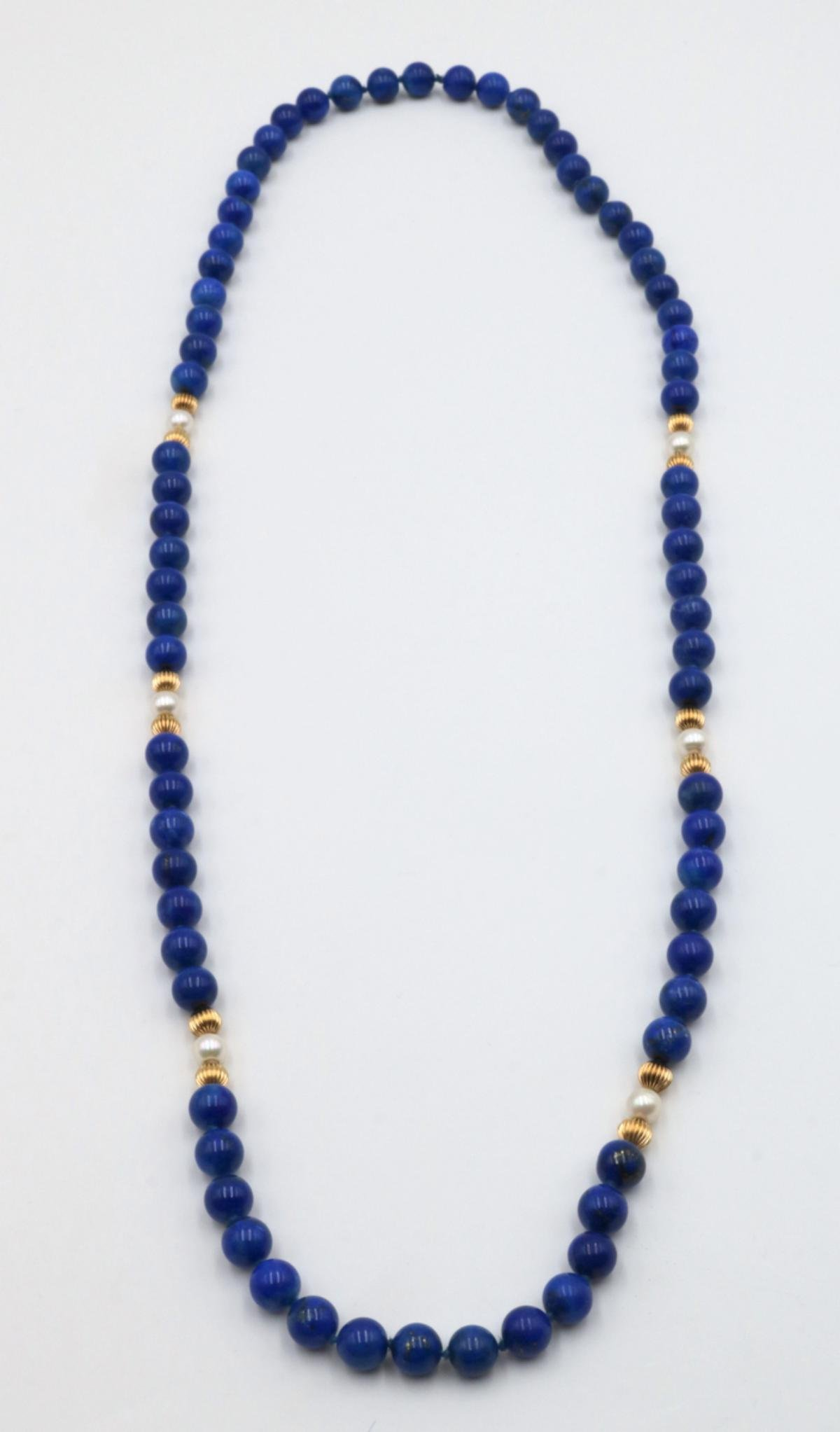 14Kt Lapis & Pearl Beaded Necklace