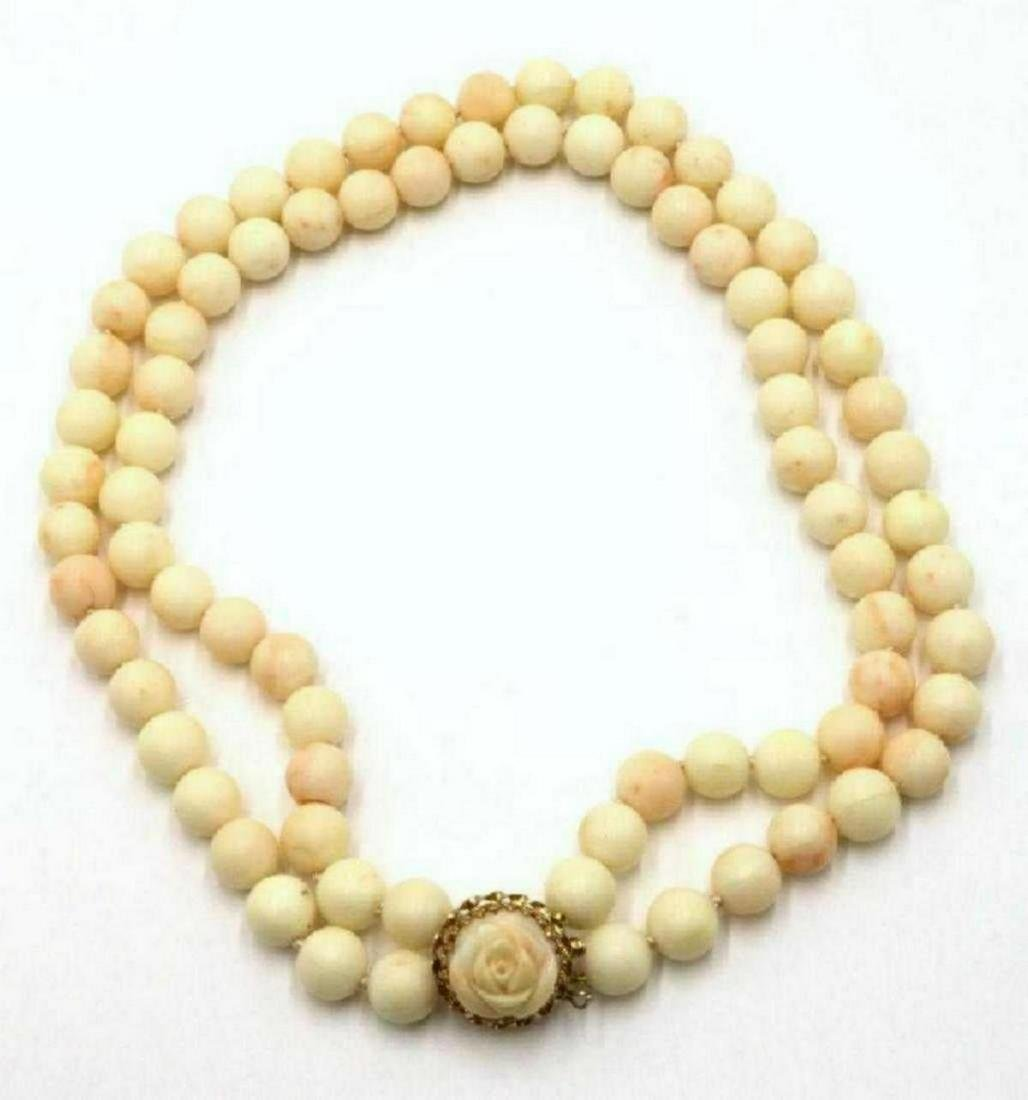 14Kt Angel Skin Coral Beaded Necklace