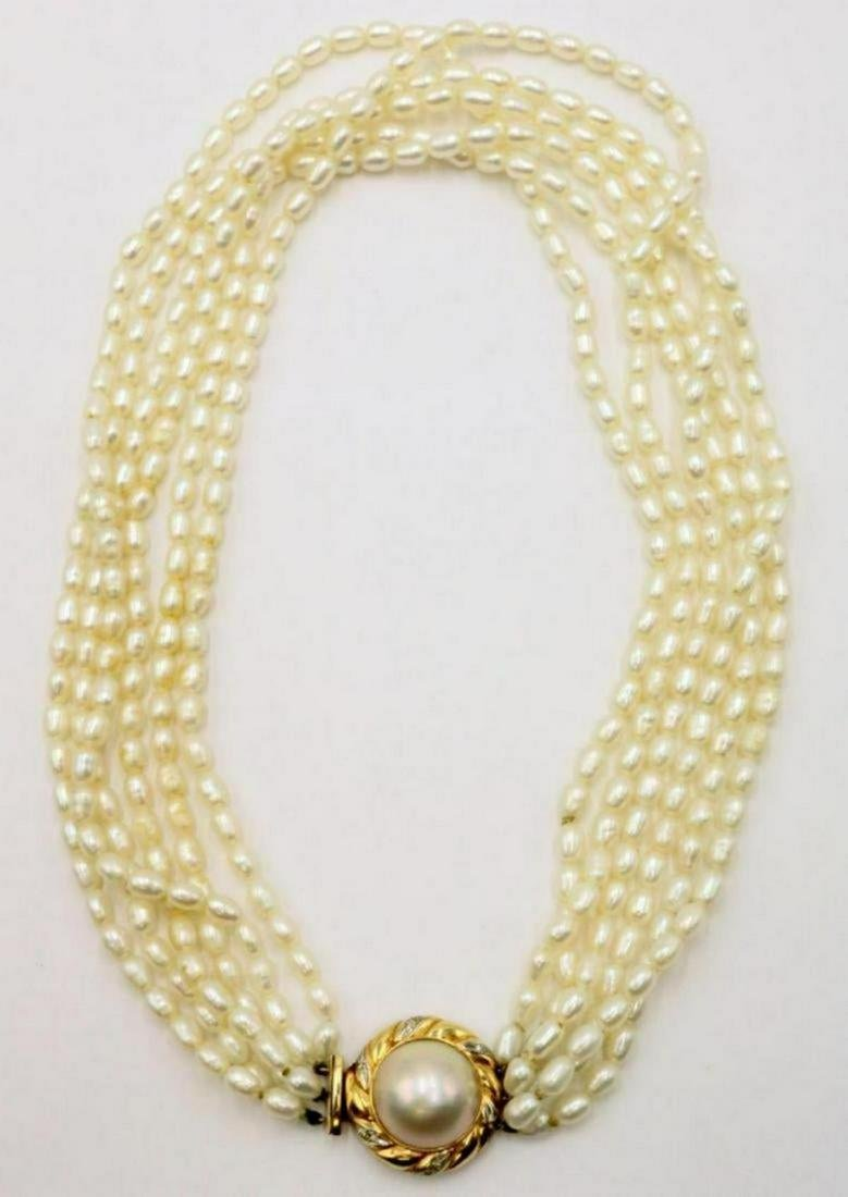 14Kt 6-Strand Pearl & Diamond Necklace