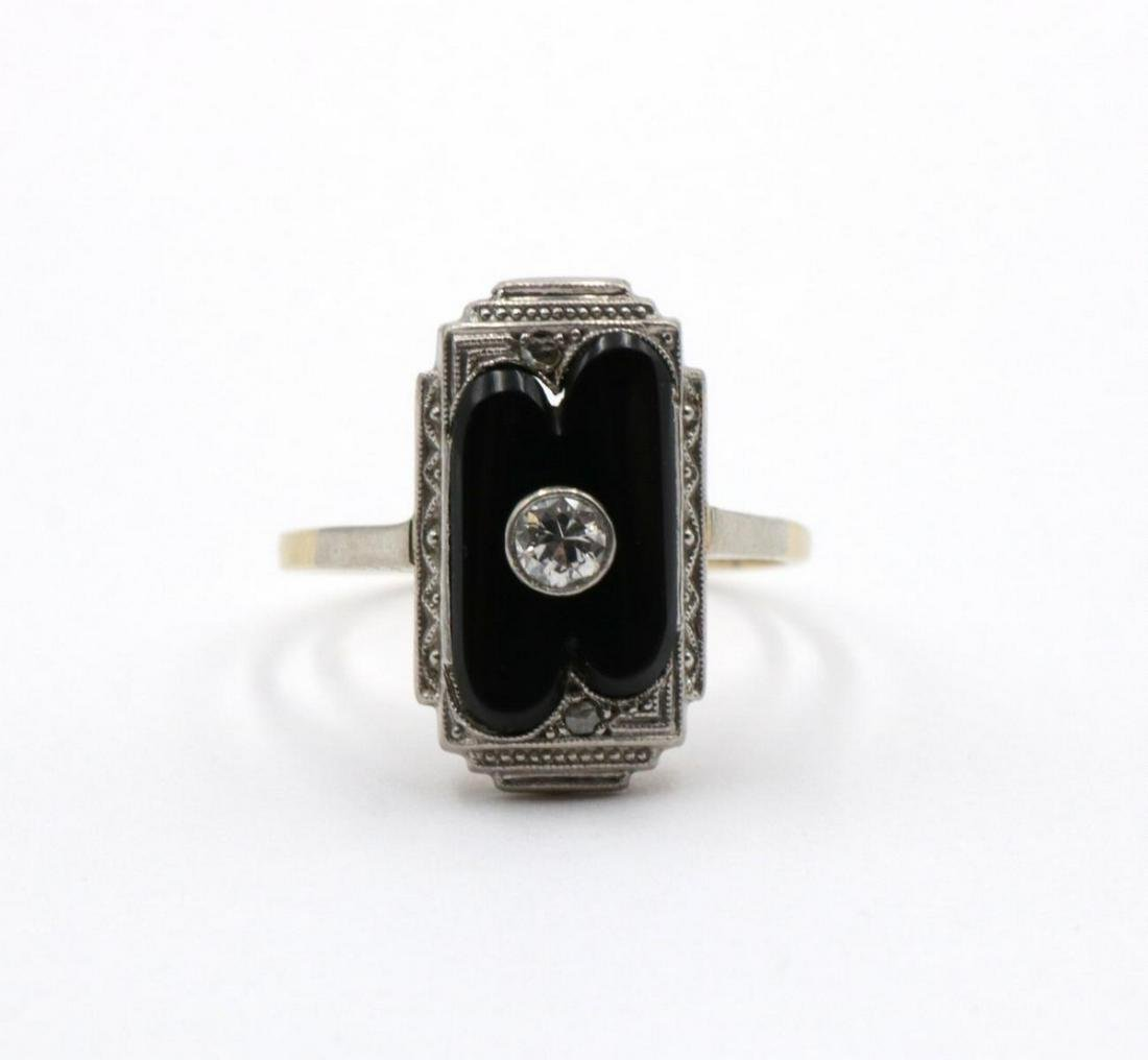 Art Deco 14Kt Black Onyx & Diamond Ring