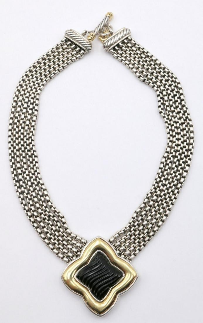 David Yurman 18Kt & Sterling Onyx Necklace