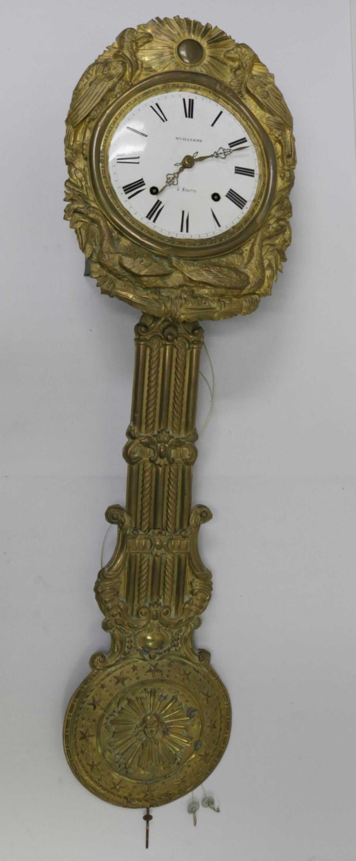 Antique Wuillerme Brass Wall Clock