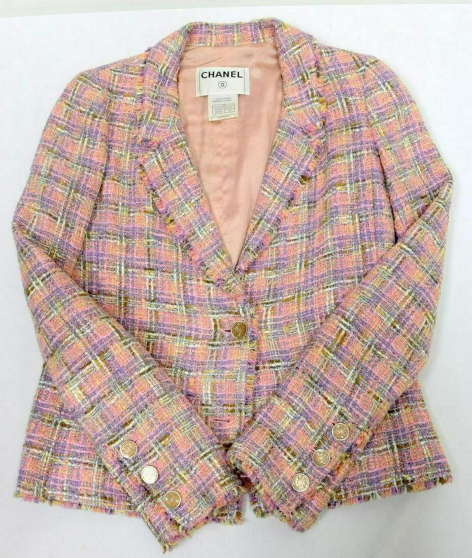 "Chanel ""Coco"" Pink Houndstooth Tweed Jacket"