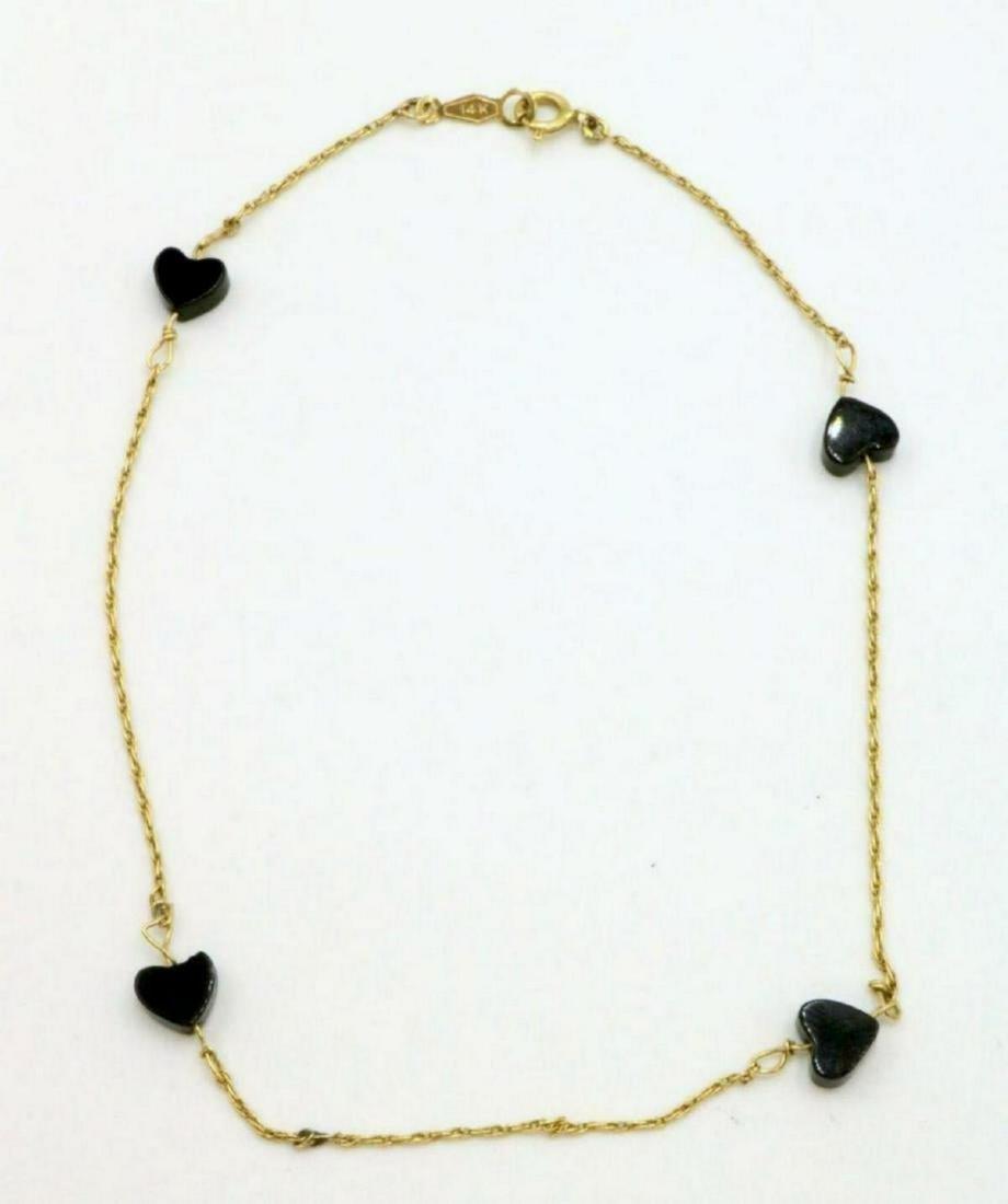 14Kt Black Onyx Heart Ankle Bracelet