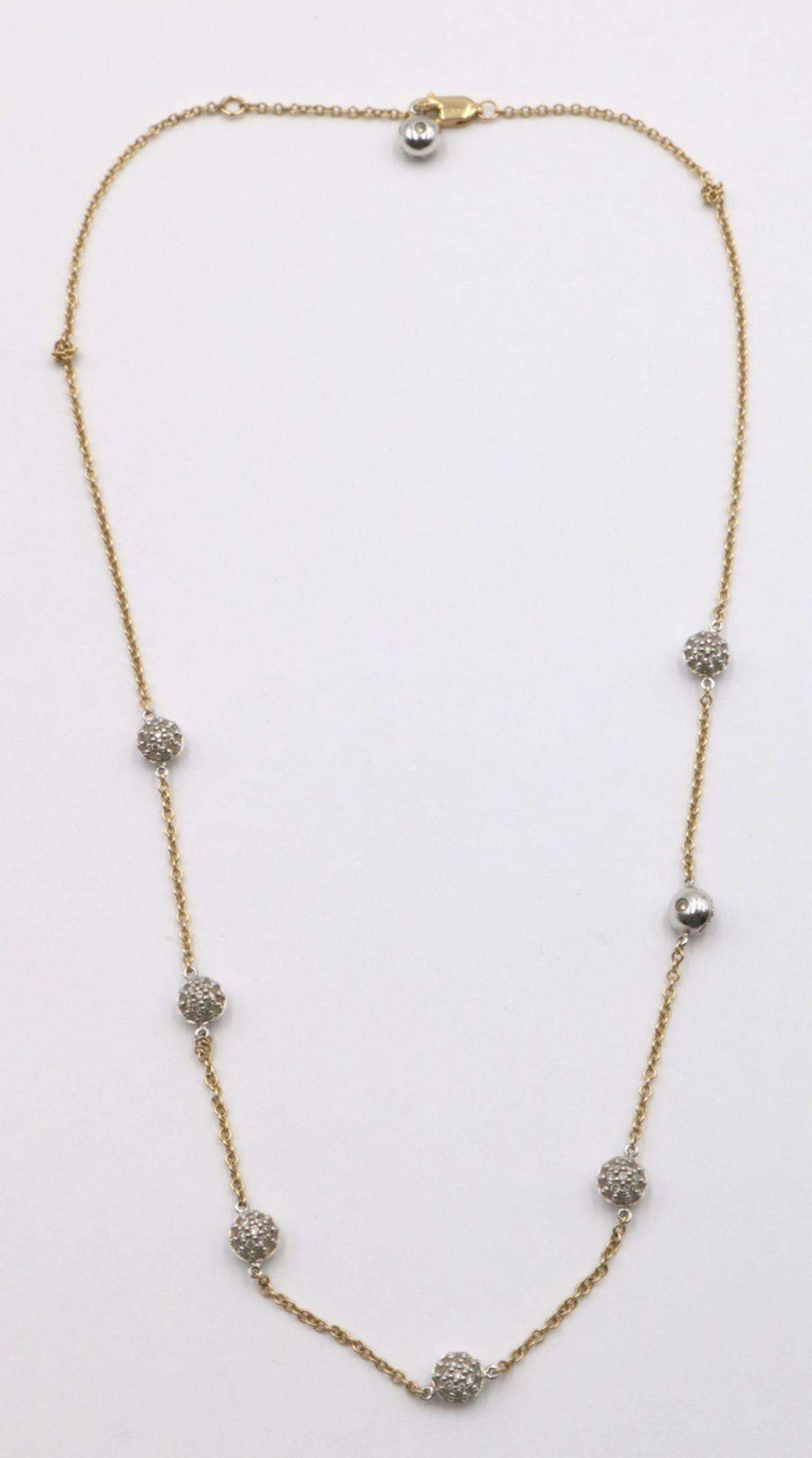 Sonia B 14Kt Diamond Ball Two-Tone Necklace