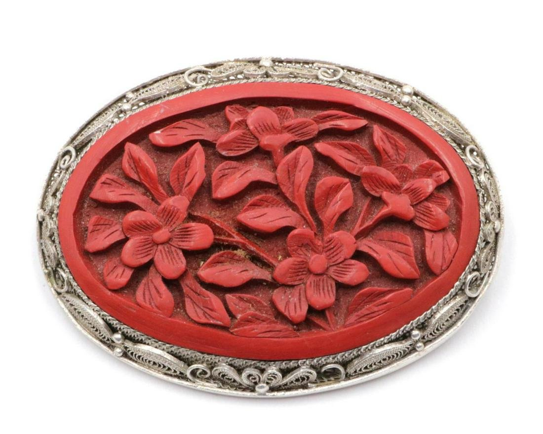 Chinese Carved Cinnabar & Sterling Brooch