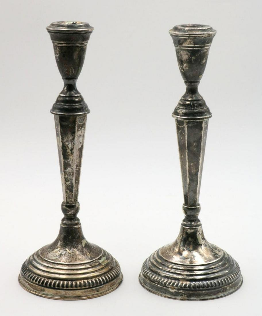 Antique Russian 84 Silver Candle Sticks