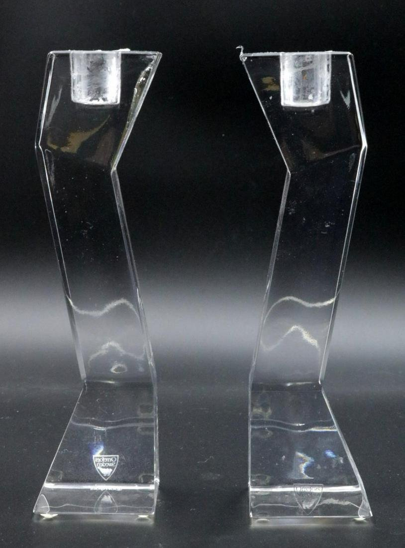 Pair of Orrefors Crystal Candle Sticks