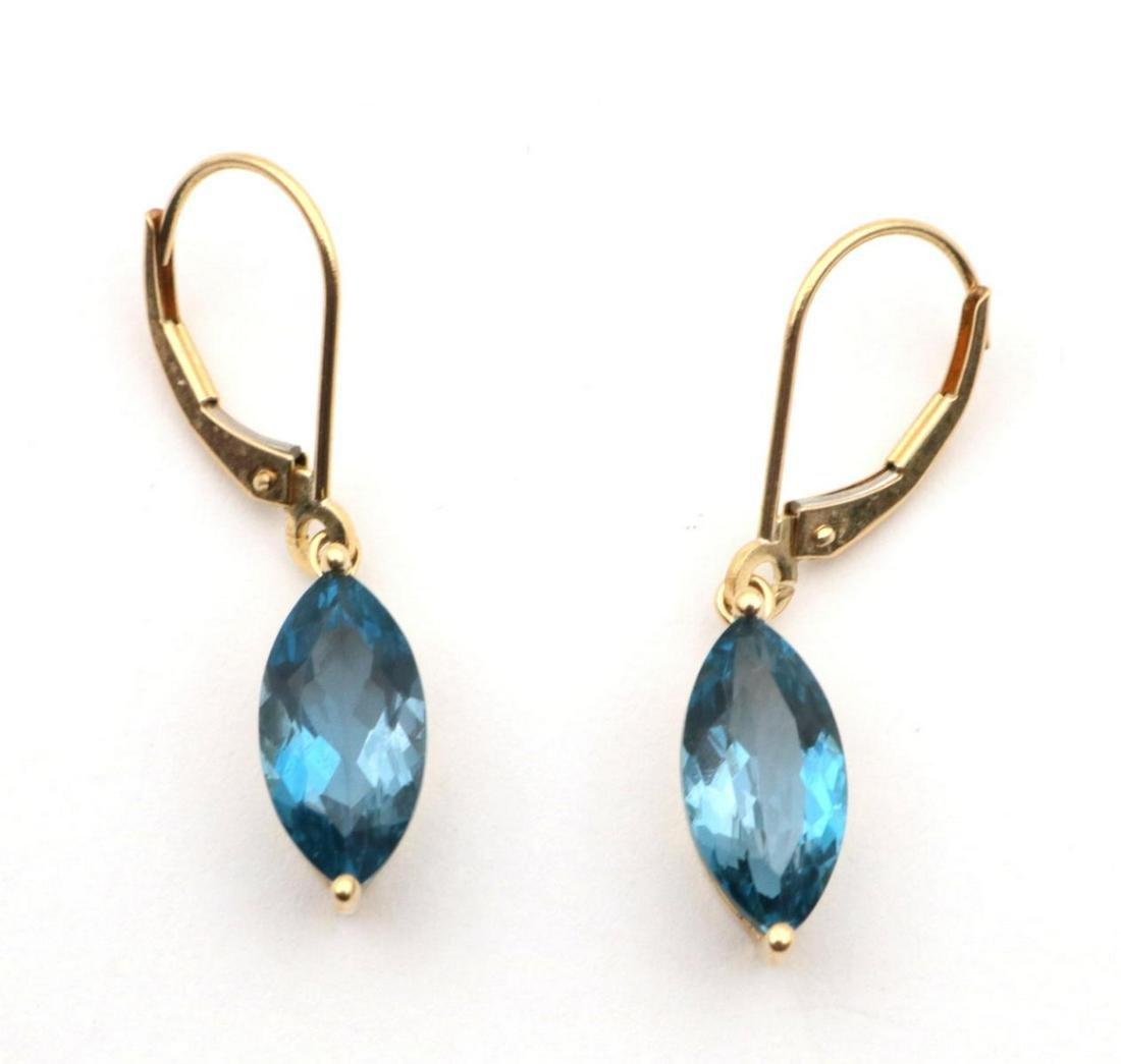 14Kt Yellow Gold & London Blue Topaz Earrings