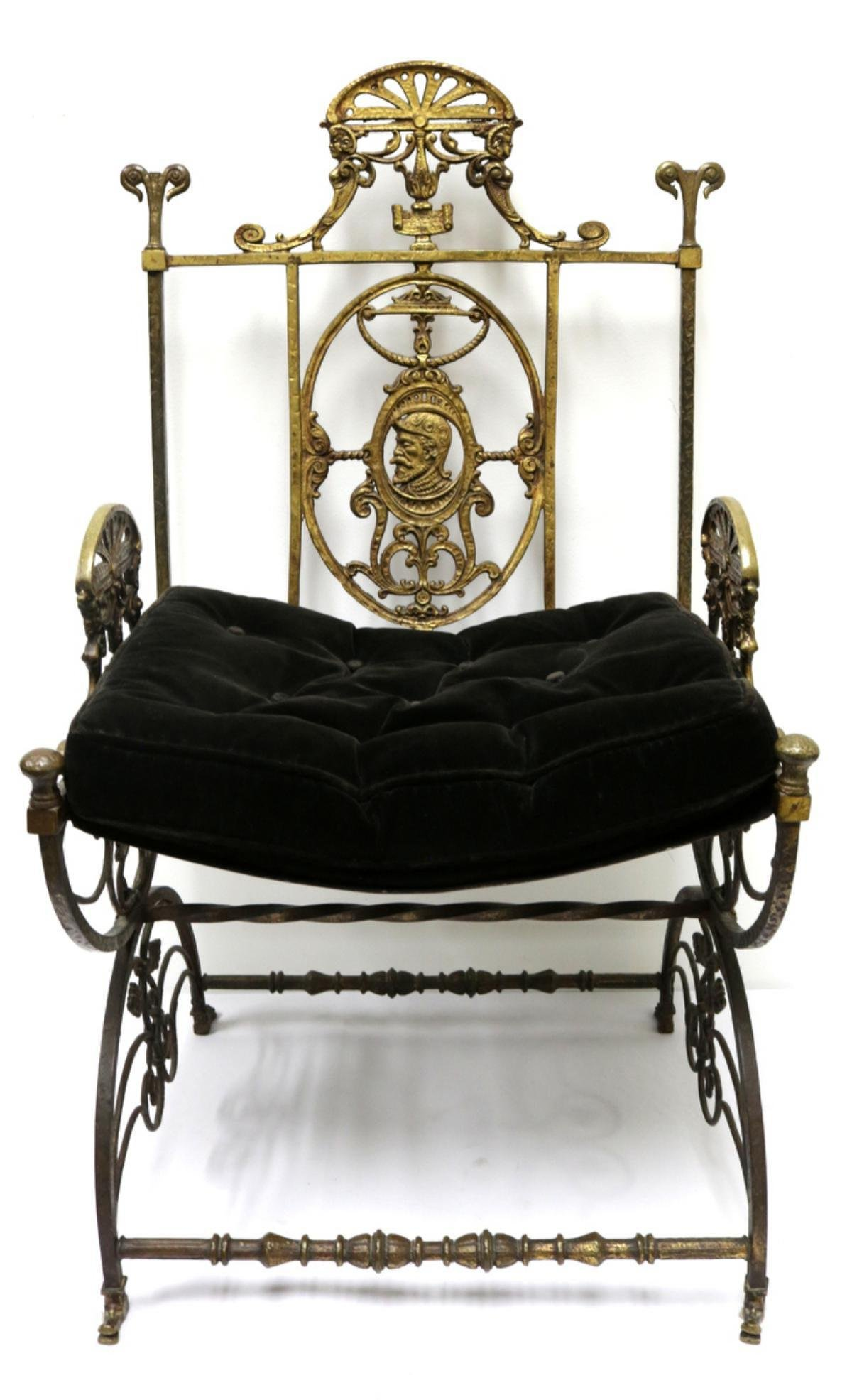 Antique Neoclassical Throne Chair