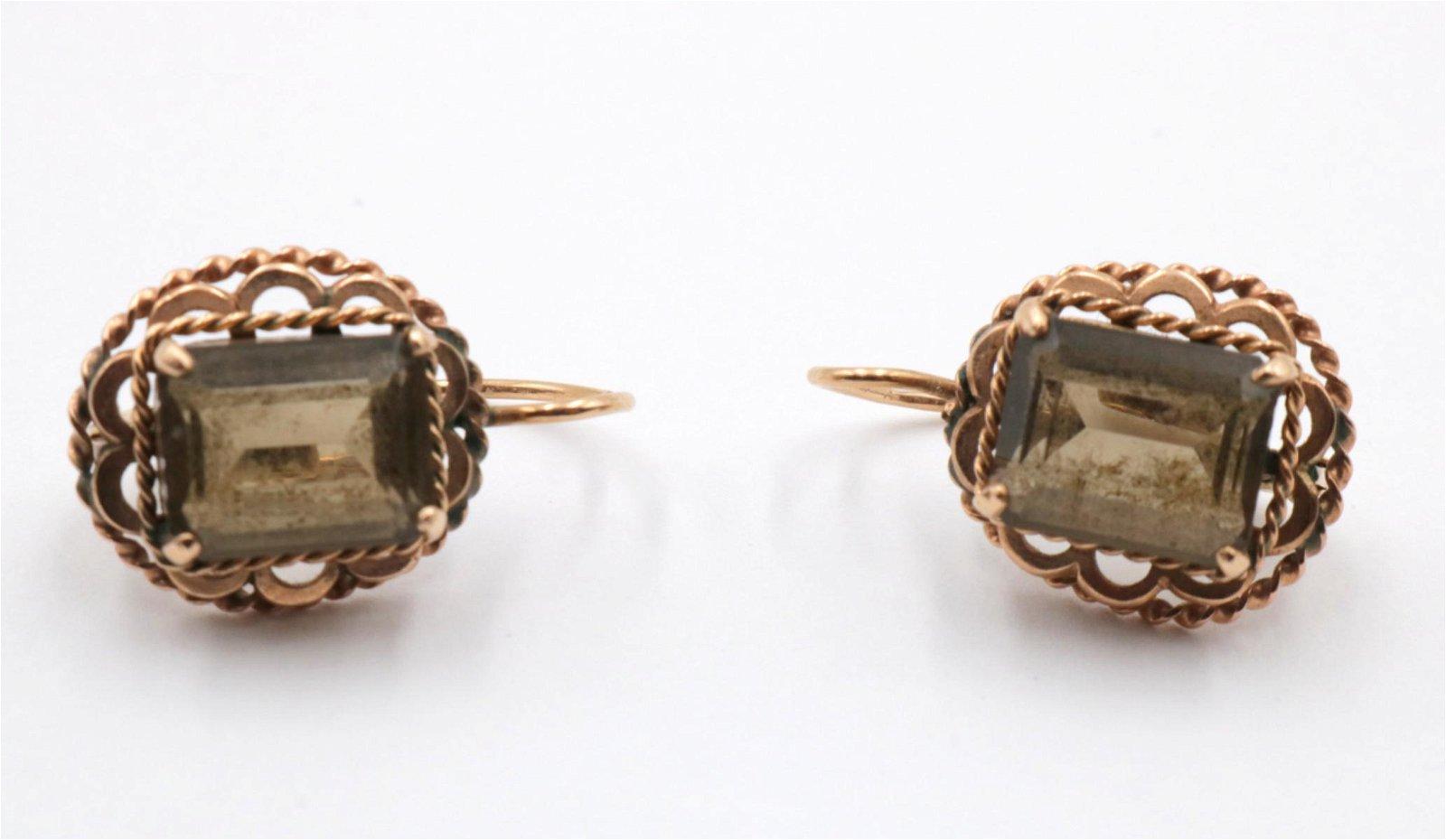 10Kt & Brown Topaz Earrings
