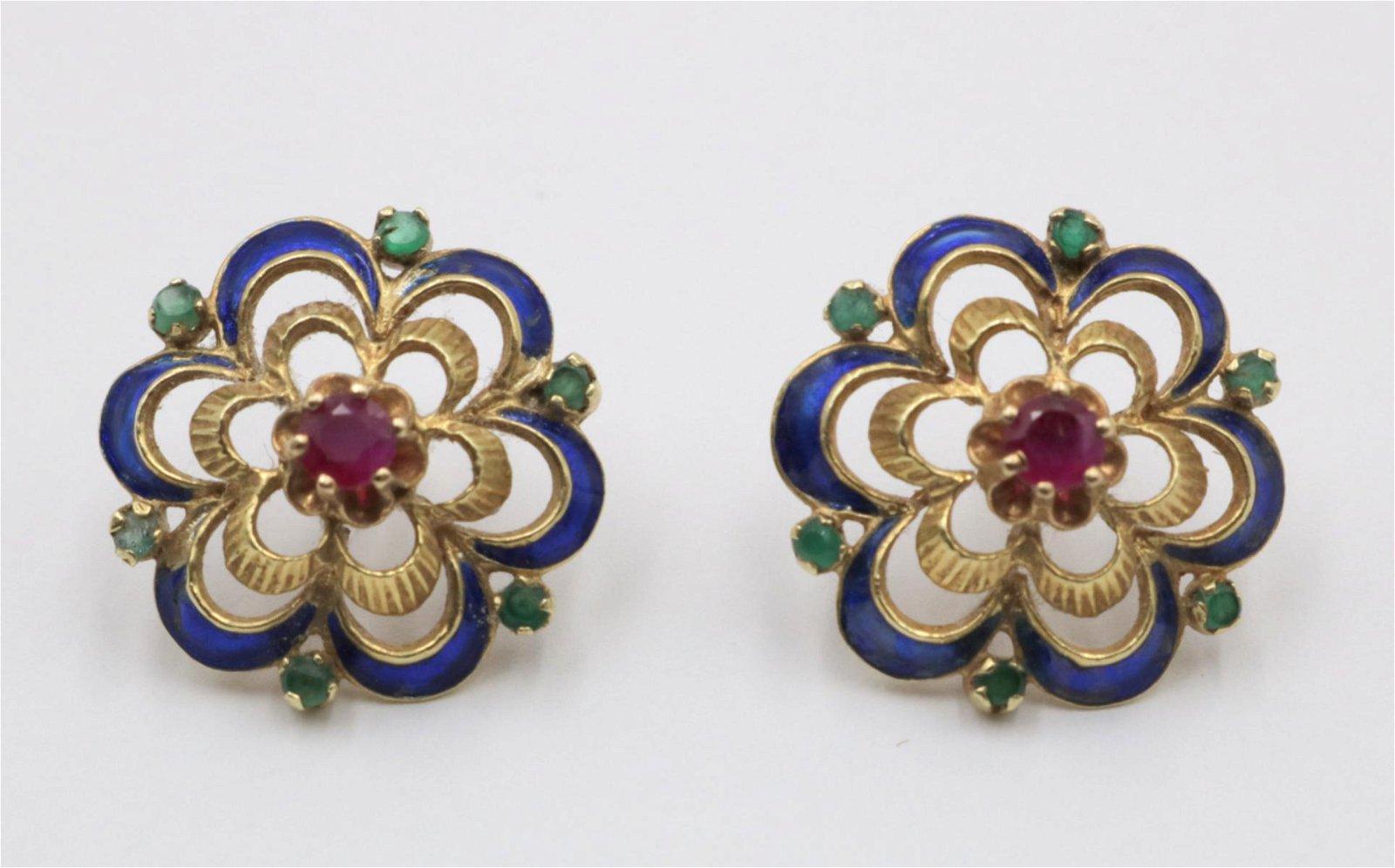14Kt Ruby, Emerald & Enamel Earrings
