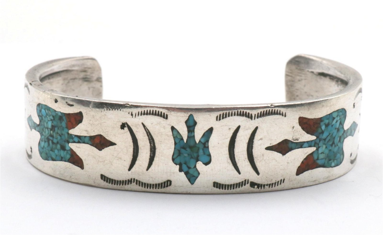 Native American Turquoise & Coral Sterling Bangle