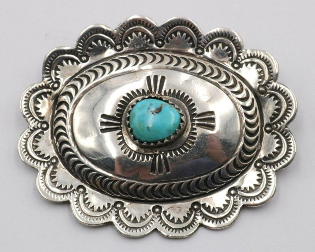 Native American Turquoise & Sterling Brooch