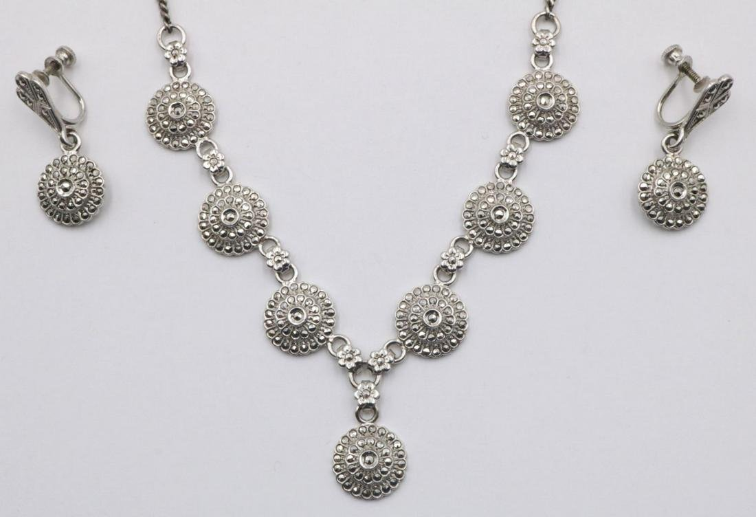 Sterling & Marcasite Flower Suite