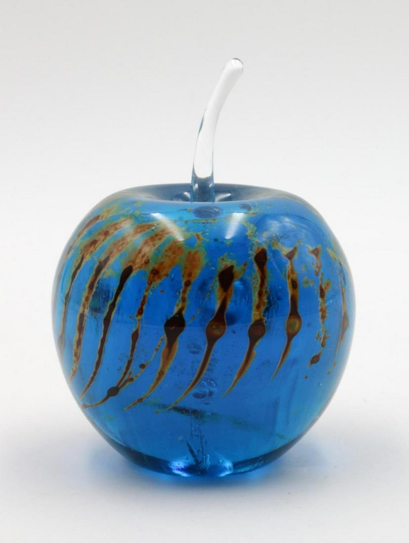 Signed Mdina Art Glass Apple Paperweight