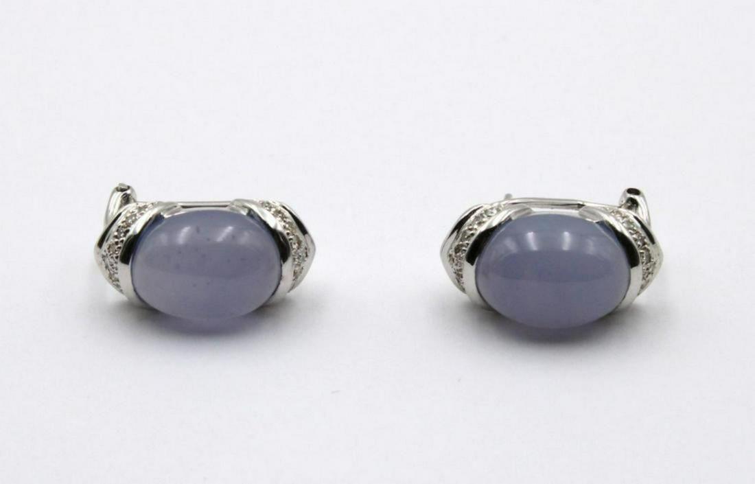 14Kt Chalcedony & Diamond Earrings