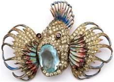 Vintage Coro Craft Sterling Fish Brooch