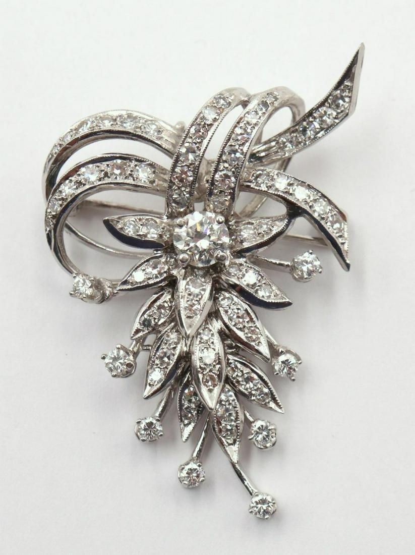 Fabulous 14Kt White Gold Diamond Brooch