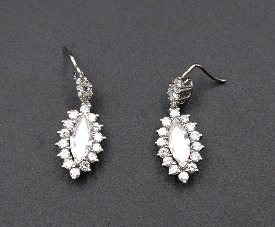 14Kt White Gold Marquise Diamond Drop Earrings