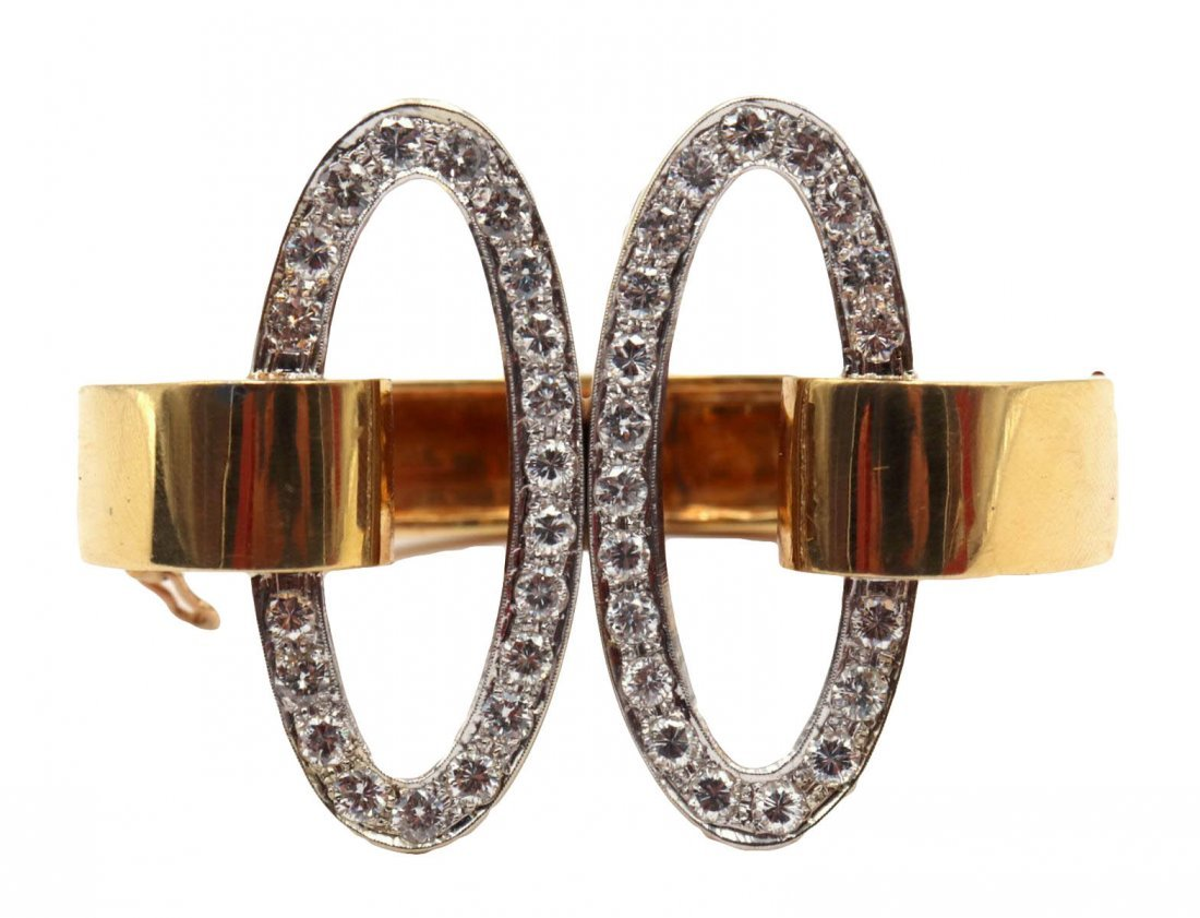 18Kt Yellow Gold Double Oval Diamond Bangle