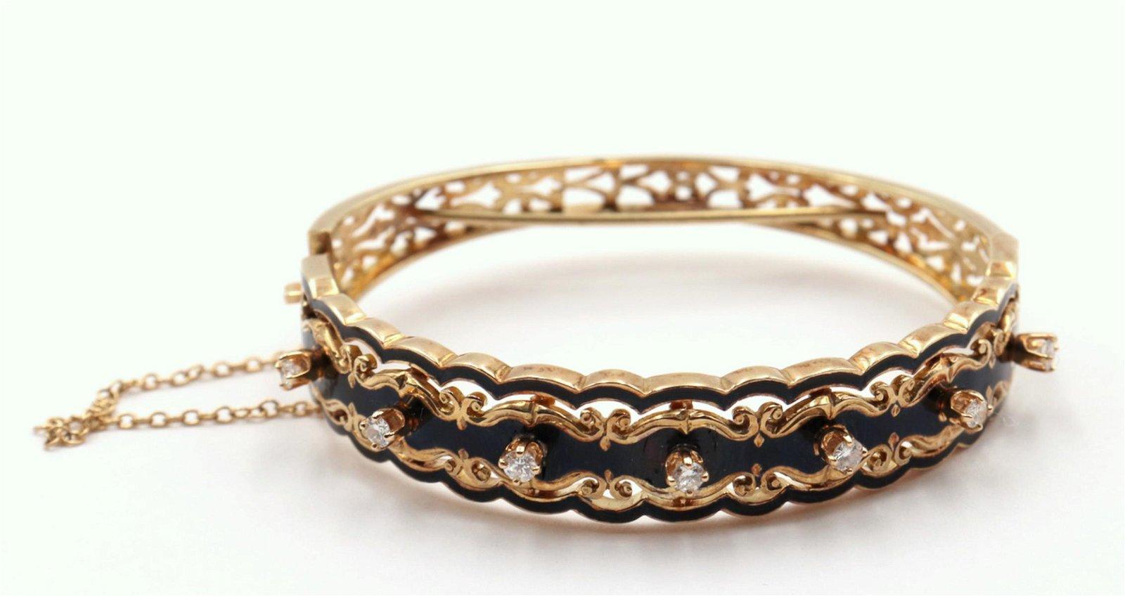 Signed SJR 14Kt & Enamel Diamond Bracelet