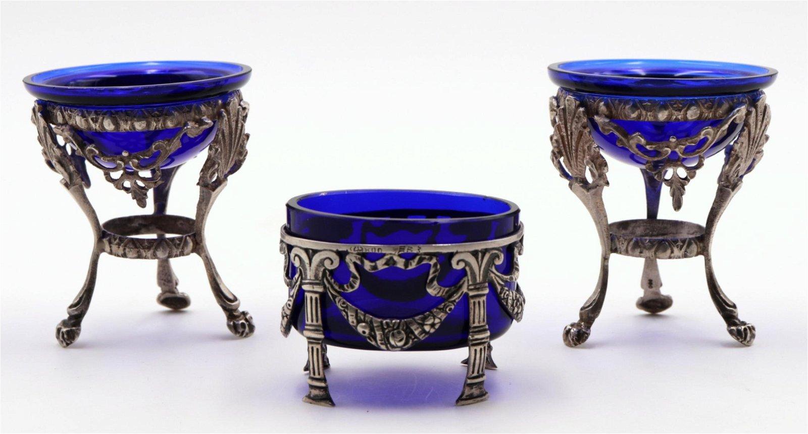 German Art Nouveau 800 Silver & Cobalt Blue Glass Set