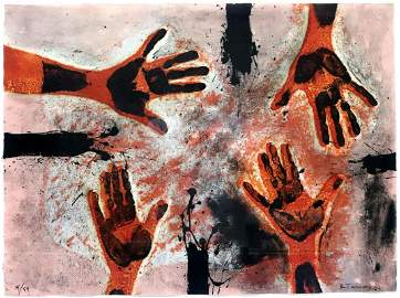 "Rufino Tamayo ""Hands in Red"" Color Etching"