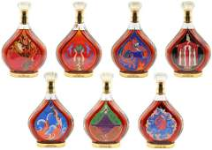 Rare Set of 7 Erte Courvoisier Cognac Bottle Collection