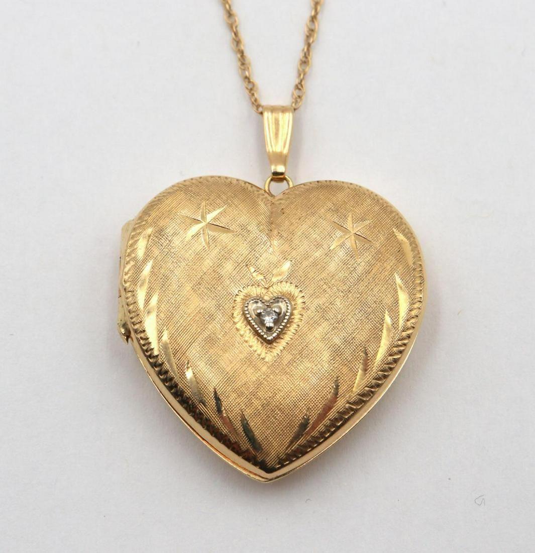 14Kt & Diamond Heart Locket w/ Necklace
