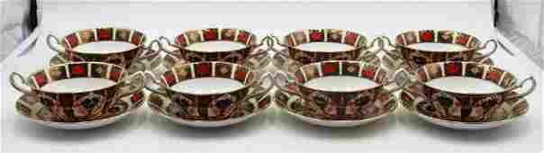 """8 Royal Crown Derby """"Old Imari"""" Soup Cups & Saucers"""