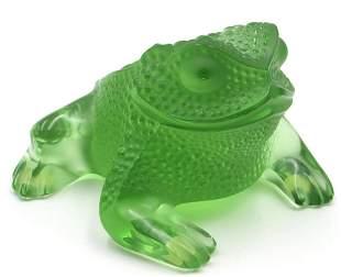 "Lalique ""Gregoire"" Green Crystal Frog"