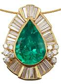 18Kt 21.91ct. Emerald & 5.20ct. Diamond Slide Pendant